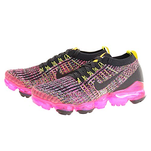 Nike Women's Air Vapormax Flyknit 3 Shoes (8.5, Black/Pink/Yellow)