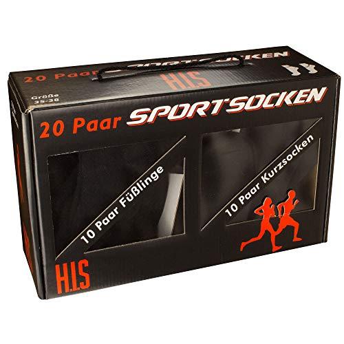 H.I.S HIS Socken, Unisex, 20 Paar Strümpfe Box, Füßlinge, Kurzsocken, Freizeit, (39-42, schwarz)