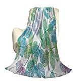 Floral Fluffy Plush Soft Comfortable Warm blanketFlowers Leaves Ivy Vein Like Rainbow Ombre Color Art Print Aire Acondicionado de Lujo Funda nórdica W80 x L60 Inch Azul pálido Fern Green