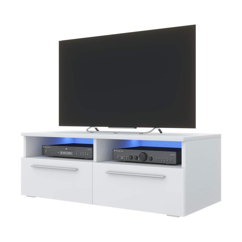 Siena - Mueble TV / Mesa para TV (100 cm, Blanco Mate / Frentes ...