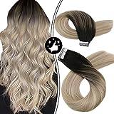 Moresoo Hair Extensions Tape 16 pulgadas/40cm Adhesivo Extensiones de Pelo Muy...
