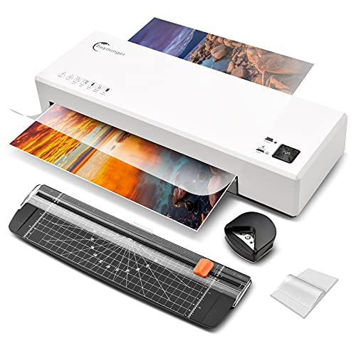 Laminator, 4 in 1 Thermal and Cold Laminator Machine with 40 Laminating Pouches, Buyounger A4 A5 A6 9 Inches Personal Laminator for Home School Office Use, Lamination with Paper Cutter Corner Rounder