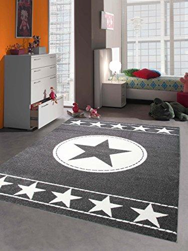 Kinderteppich Spielteppich Kinderzimmer Teppich Sternteppich Sterne Grau Creme 140x200 cm