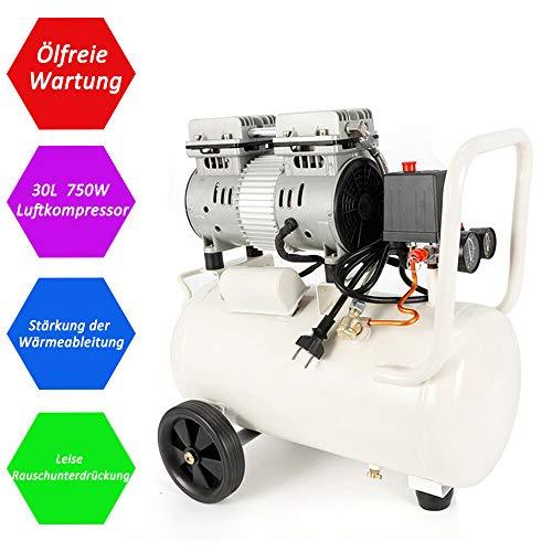 YUNRUX, fluistercompressor, luchtcompressor, stil, olievrij, fluisterend, 750W, 69dB