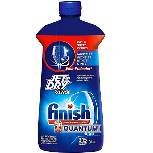 Finish Jet Dry Ultra Rinse Aid | Dishwasher Rinsing and Drying Agent – with Etch Protector – Prevents Spotting and Clouding – Large 32 Ounce Bottle – for 315 Washes