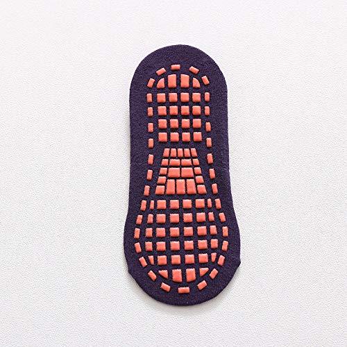 ROUNDER 10 Paia New Develop Calzini con Impugnatura alla Caviglia Tinta Unita Calzini Antiscivolo in Cotone Antiscivolo per Uomo e Donna 35-42 Yard-Viola Scuro