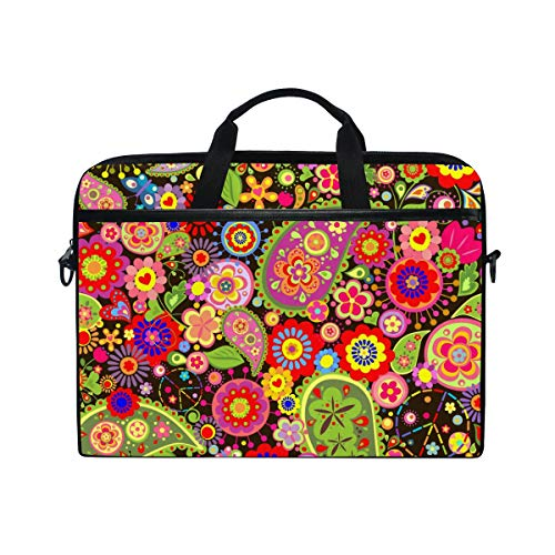 Ahomy 14 Inch Laptop Bag, Colorful Paisley Floral Hippie Canvas Fabric Laptop Case Bussiness Handbag With Shoulder Strap for Women and Men