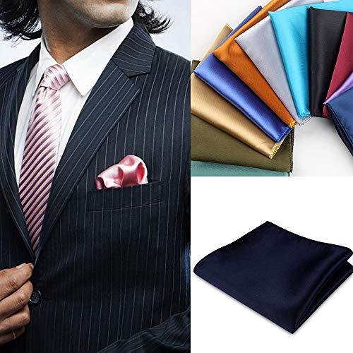 YUNYUN Inglaterra colores sólidos Pañuelos Pañuelo Vintage Seda Satén Hombres Traje Bolsillo Cuadrado Pañuelos Vestido de Boda Pecho Toalla Negro,Bélgica