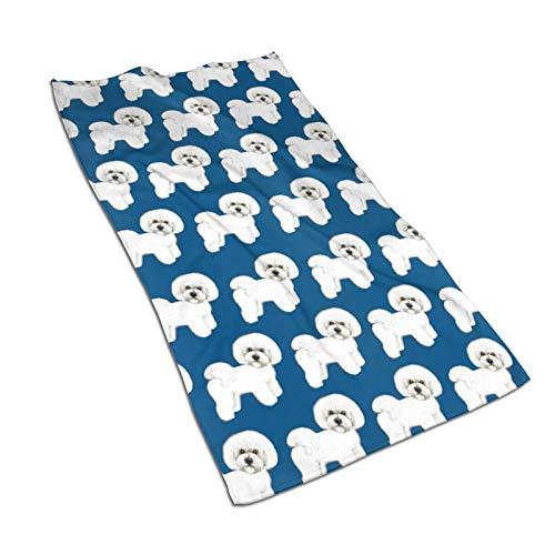 WH-CLA Bath Towels Tela Azul Bichon Frise 80X130Cm Playa Toalla De Playa...