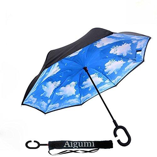 Reversion Regenschirm, AIGUMI Innovative Winddichtes Regenschirm umge Folding Double Layer Sunblock Umwelt Bumbershoot (Himmelblau)