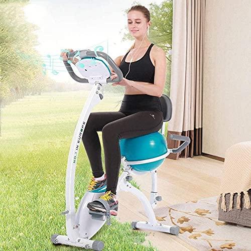 Bicicleta estática Vertical para Deportes de Spinning para Interiores, Bicicleta estática para Estudio en Interiores con Pelota de Yoga y Monitor LCD, Bicicleta aeróbica para Ejercicios aeróbicos