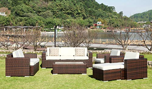Au jardin de Chloé | Salon de Jardin en résine tressée Plate, Thais Marron - 8 Places
