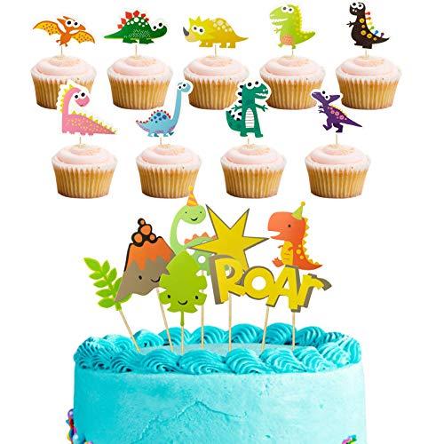 HANGNUO Dinosaurier-Cupcake-Topper für Lebensmittel, Obst, Brot, Schokolade, Dekoration
