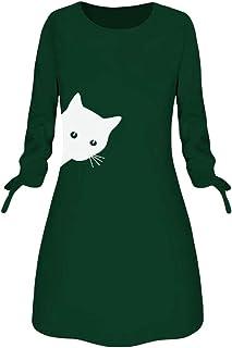 Vestidos Mujer Invierno Casual,Mini Vestido De Blusa De Manga Larga con Cuello Redondo Y Lazo De Animal De Gato Impresión