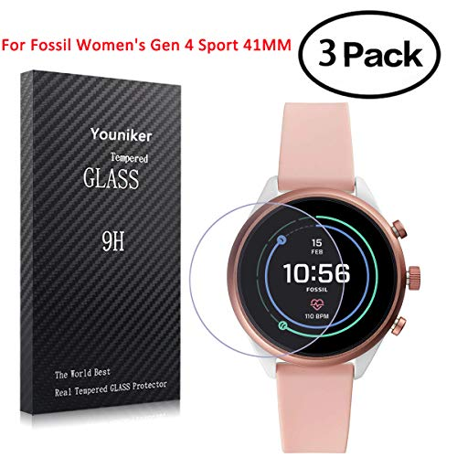 Youniker 3 Pack voor Fossil Sport 41mm 2018 Screen Protector Gehard Glas voor Fossiele vrouwen Gen 4 Sport 41MM Screen Protector Foils Glas 9H 0.3MM Anti-Scratch Anti-Vingerafdruk Bubble Free, Fossil Sport 41mm