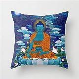 BRILLON Funda de cojín de Buda Medicinal de 18 x 18 Pulgadas