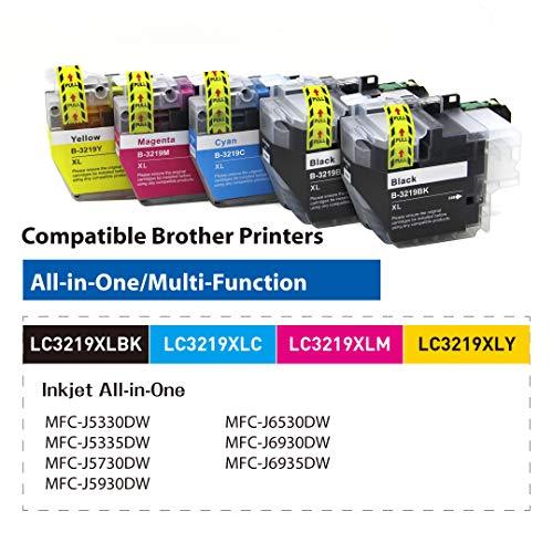 OBENO -1 Set 1BK- LC3217 LC3219 5 Packs Cartucho de Tinta Compatible para Brother MFC-J5330DW MFC-J5335DW MFC-J5730DW MFC-J5930DW MFC-J6530DW MFC-J6930DW/J6935DW(2 Black, 1 Cyan, 1 Magenta, 1Amarillo)