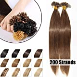 200 Mèches Extension Cheveux Naturel Keratine Pose a Chaud 100G Pre Bonded Nail U Tip Remy Human Hair Extensions - #04 Châtain - 40cm