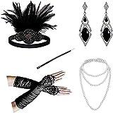 DRESHOW 1920s Accesorios Set Años 20 Fiesta Disfraz Gran Gatsby Diadema Collar Guantes Pendientes Porta Cigarrillos para Mujeres