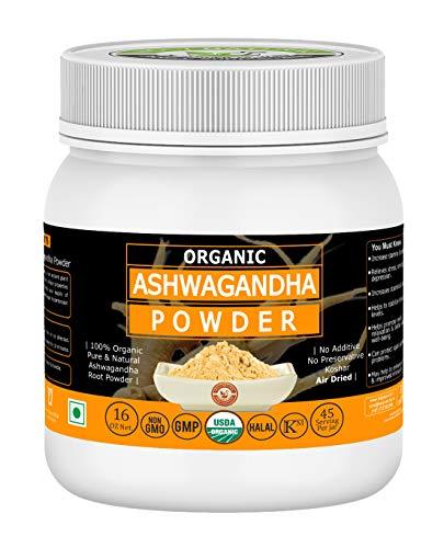 Organic Ashwagandha Powder- 16 Oz/1 lbs, USDA Certified I 100% Pure & Natural I Magical Herb I Can Improve Energy, Increase Stamina & Endurance I RAW Powder, NO Preservative, Non GMO Product Name