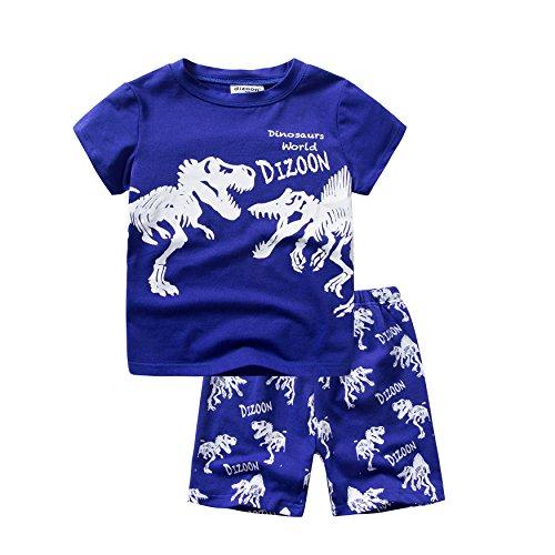 Backbuy Chicos Pijama niños de algodón Verano Ropa de Dormir Mangas Cortas 2 Piezas Camiseta Patrón de Dinosaurio 12 meses-12 años