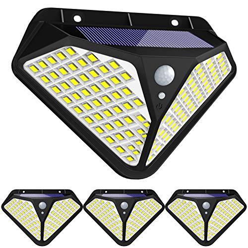 Fortand Outdoor zonne-lampen【Super heldere 102 LED】270 ° solar bewegingsmelder buiten LED-tuin licht met bewegingsmelder Waterdichte wandlamp op zonne-energie met 3 modiVoor tuin, balkon 4 stuks
