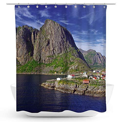 fotobar!style Duschvorhang 175 x 200 cm Norwegen: Berge und Meer auf den Lofoten