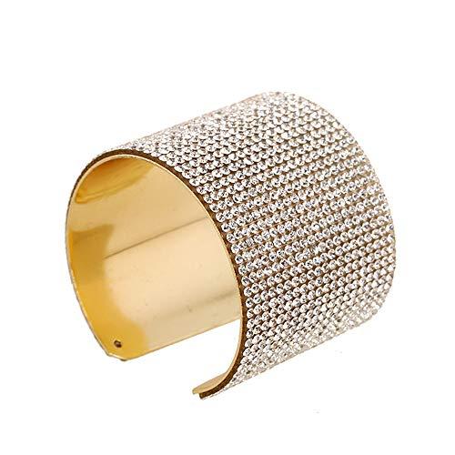 Goodvk Color Oro Pulsera Ancha generosa Aleación Pulsera con Incrustaciones de Diamantes Pulsera de Metal Atmósfera Joyas Regalo de Amor Mano de Mujer Catenaria Gran Regalo para familias