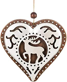 The Bridge Collection Wooden Heart Ornament with Metal Deer Cutout