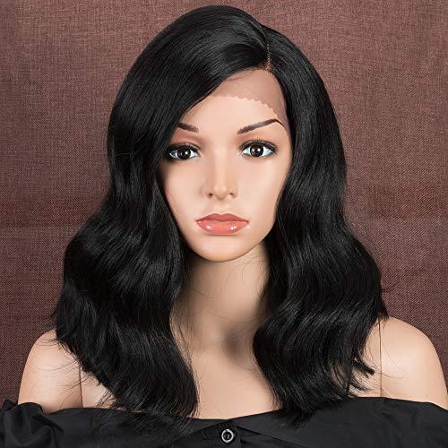 Style Icon Perruques Avant de Lacet Perruques Ondulées de 38cm Perruque Synthétique Partie Latérale Perruques d'Aspect Naturel Pour Les Femmes avec Fibre Résistante à La Chaleur