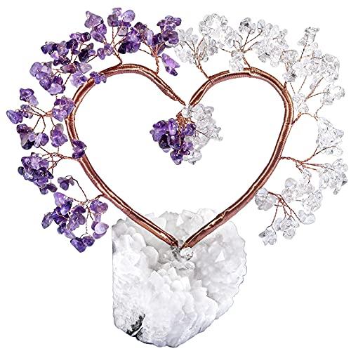 KYEYGWO Árbol de cristal de curación multicolor sobre cristal de roca natural, base de cuarzo especial, árbol de dinero, feng shui, bonsái, decoración para casa, boda, buena suerte y riqueza