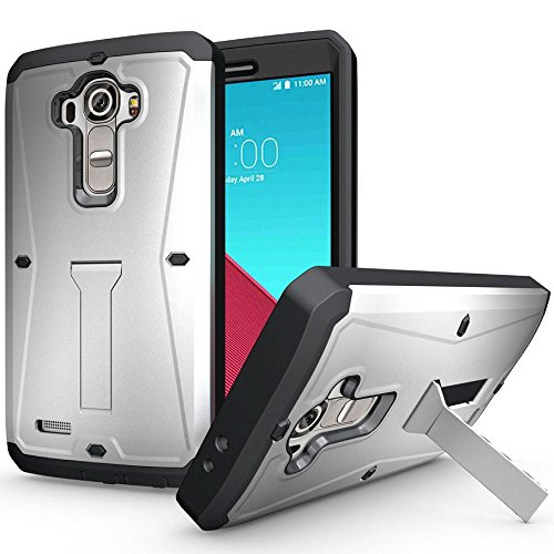 ECOZ Heavy Duty [SHIELDX-PRO] Hybrid Full-Body Protective Case with Front Cover and Built-in Screen Protector/Impact Resistant Bumpers Cover for LG G4 (Silver)