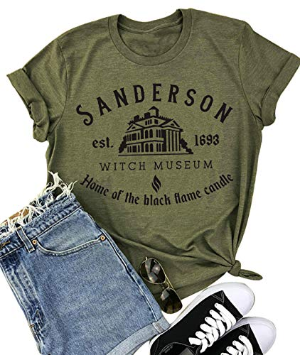 Women's Sanderson Witch Museum Letter Print T-ShirtCasual Short Sleeve O Neck Tees Shirts Top (XX-Large, Green)