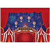Allenjoy 8x6ft Red Circus Tent Carnival Night Themed Backdrop for Kids Birthday Fireworks Ferris Wheel Baby Shower 1st First Bday Party Decorations Background Table Banner Photobooth Props