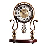 SHBV Reloj de péndulo de Metal Silencio a batería Base de Madera Maciza Reloj de Chimenea de Cuarzo Adornos Decorativos de Escritorio Reloj de Mesa 34X24 CM (Color: Latón)