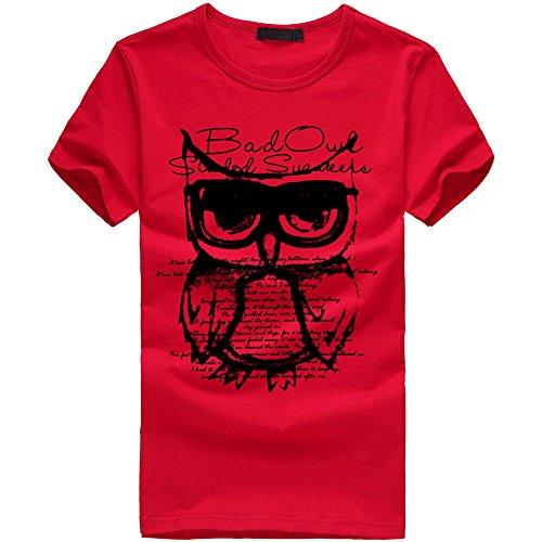 TWIFER Sommer Herren Eule Gedruckt Tees Shirt Kurzarm Baumwolle T-Shirt Kleidung