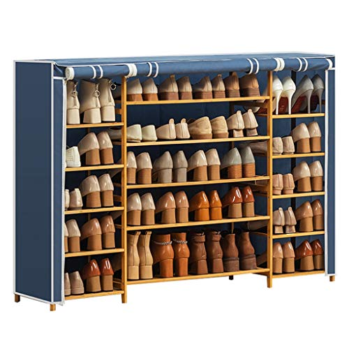 Hkw-shop Schuhregal/Schuhablage Schuhregal Schuhablage Organizer Cabinet Tower mit Oxford-Stoffbezug Schuhspeichermanager (Color : Blue)