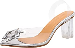 Women Point Toe High Heel Shoes, Ladies Transparent Crystal Sexy Party Shoes Slipper Sandals