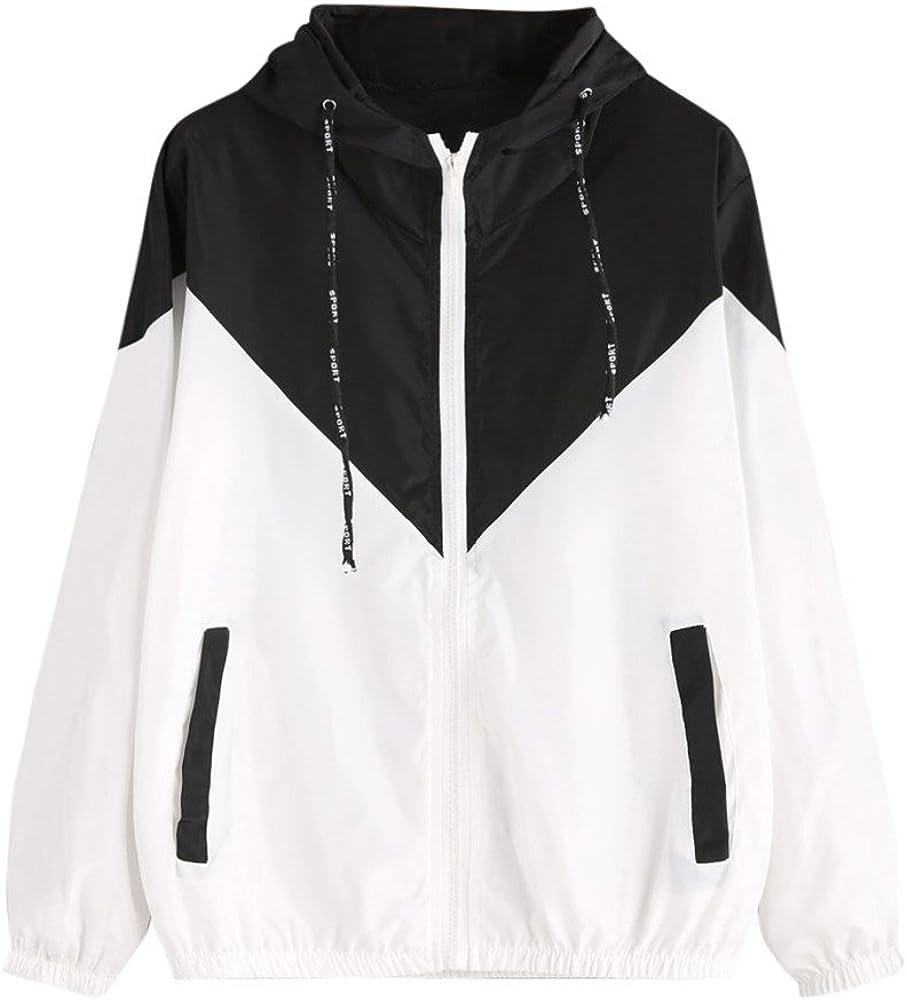 XSSFCC Women's Sweatshirt Long Sleeve Patchwork Thin Skinsuits Hooded Zipper Pockets Sport Coat