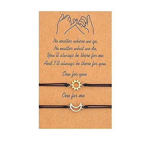 Pulsera de sol y luna, mejor amigo, pareja, pulsera a juego, promesa para siempre, hombre adolescente, mujer, regalo, joyería (Golden and silver Bracelet)