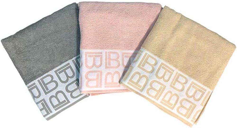 Laura biagiotti, set 3 teli bagno, grigio,rosa,beige,100 % cotone 85 031 1