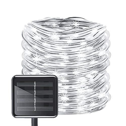 Bopipi, catena luminosa SLED, impermeabile, 12 m, 100 LED, catena luminosa a energia solare, filo di rame, illuminazione natalizia, per matrimoni, giardino, feste, esterni bianco