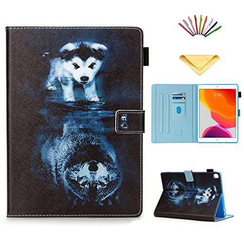Uliking iPad 7th Generation Case, iPad 10.2 inch Cover 2019 with Pencil Holder Card Pockets, Smart Folio Flip Stand PU Leather Magnetic [Auto Sleep/Wake] Soft TPU Back Drop Proof Shell, Wolf and Dog