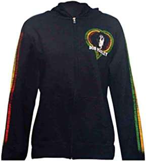 Zion Official Bob Marley One Love Smile - Juniors Hoodie Hooded Sweatshirt (Small) Black