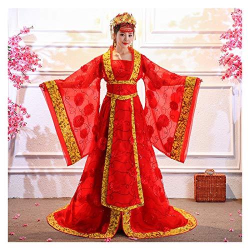 Disfraz de danza femenina Hanfu Imperial Concubina Princesa Tang Dynasty Mejora el estilo chino (color: rojo, tamao: talla nica)