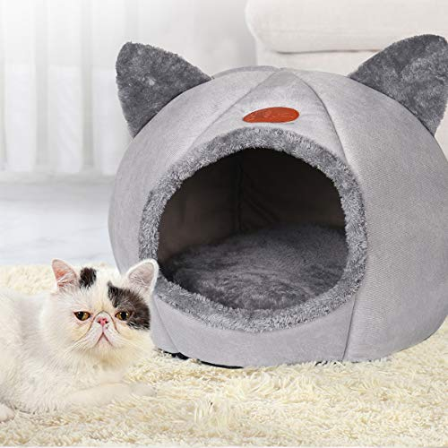 QIFU Grey Large Cat Cave Bed House - 2-in-1 Foldable Cat Tent Bed House with Non-Slip Bottom Warm Soft Comfortable Indoor Semi-Enclosed Pet Bed Dog Sleeping House…