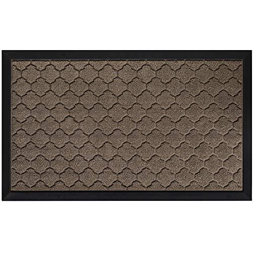 Gorilla Grip Original Durable Natural Rubber Door Mat, 23x35, Heavy Duty Doormat for Indoor Outdoor, Waterproof, Easy Clean, Low-Profile Rug Mats for Entry, Patio, High Traffic Areas, Latte Quatrefoil