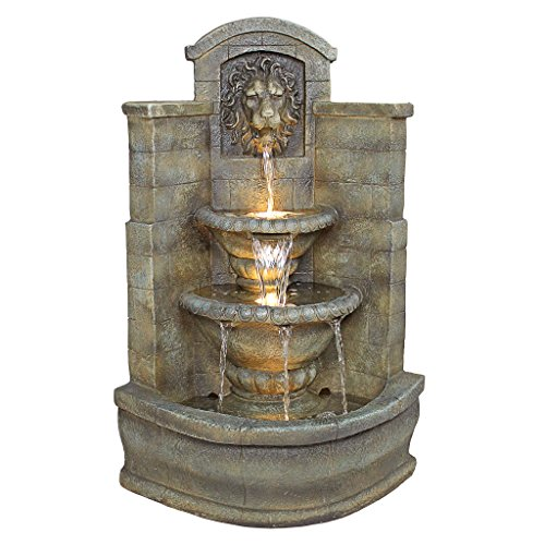 Water Fountain with Halogen Light - 3 Foot Tall Saint Remy Lion Garden Decor Corner Fountain - Outdoor Water Feature