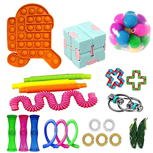 BSTEle Juego de Juguetes sensoriales Fidget 23 Piezas Paquete de Juguetes para aliviar el estrés Squeeze Fidget Hand Descompresión Surtido de Juguetes para niños Adultos
