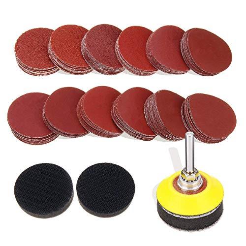 JVSISM 120Pcs 2 Pulgadas Discos De Lijado De Las Pastillas De 1/4 Pulgadas Ca?a Backer Placa y 2Pcs Esponja Cojines para Amoladora Taladro Herramientas Rotativas 60-3000 Grit Sandpapers